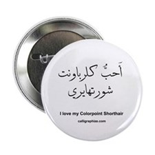 Colorpoint Shorthair Cat Calligraphy Button