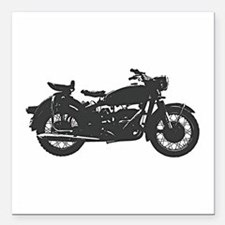 "Vintage Motorcycle Square Car Magnet 3"" x 3"""