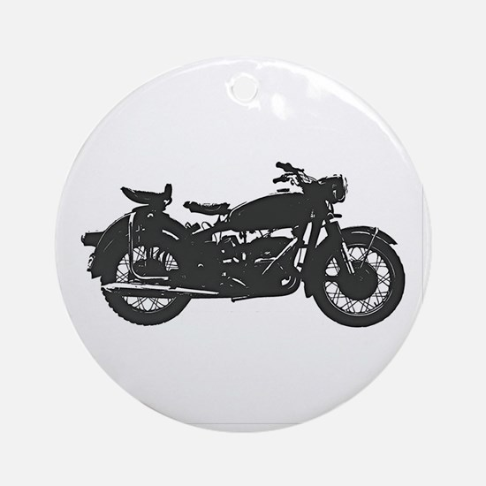 Vintage Motorcycle Round Ornament