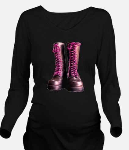 Pink Laces Long Sleeve Maternity T-Shirt