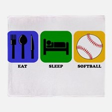 Eat Sleep Softball Throw Blanket