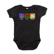 Peace Love Softball Baby Bodysuit