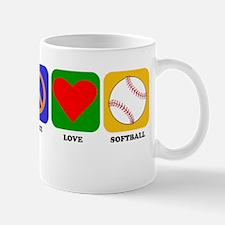 Peace Love Softball Mugs