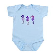 Three Purple Watercolor Seahorses Body Suit