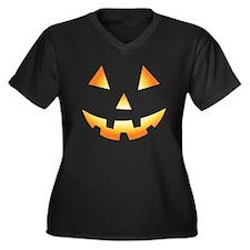 Pumpkin Face Halloween Women's Plus Size V-Neck Da