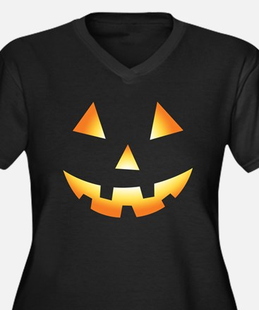 Pumpkin Face Halloween Women's Plus Size V-Neck Da