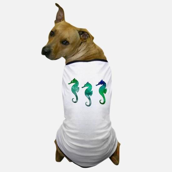 Three Dark Green Watercolor Seahorses Dog T-Shirt