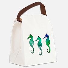 Three Dark Green Watercolor Seahorses Canvas Lunch