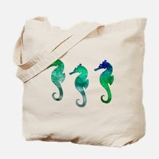 Three Dark Green Watercolor Seahorses Tote Bag