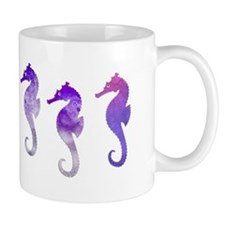 Three Purple Watercolor Seahorses Mugs