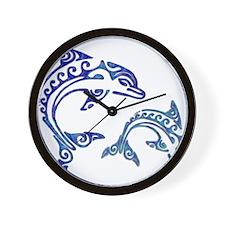 Tribal Tattoo Porpoise Duo Wall Clock