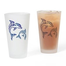 Tribal Tattoo Porpoise Duo Drinking Glass