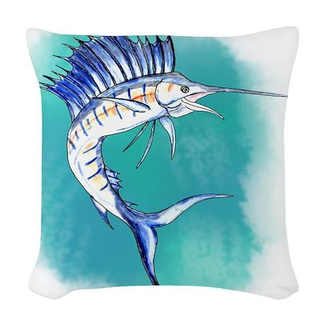 Watercolor Sailfish copy Woven Throw Pillow