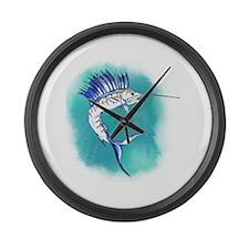 Watercolor Sailfish copy Large Wall Clock