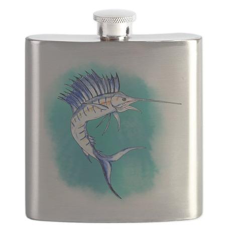 Watercolor Sailfish copy Flask
