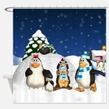 Penguin Family Winter Fun Holiday Shower Curtain