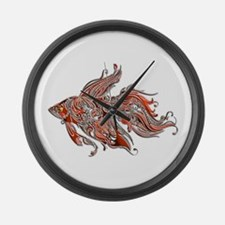 Orange and Rust Swirly Fantail Goldfish Large Wall
