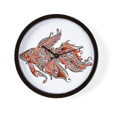 Orange and Rust Swirly Fantail Goldfish Wall Clock