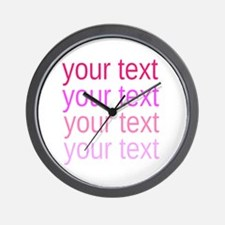 shades of pink text Wall Clock