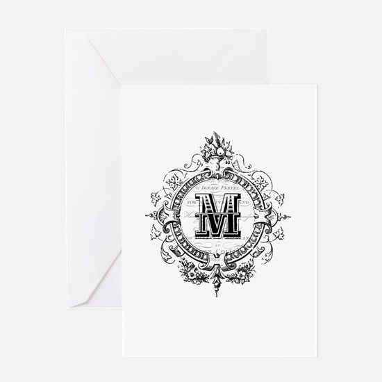 Modern Vintage French monogram letter M Greeting C