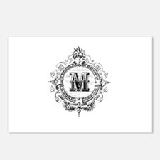 Modern Vintage French monogram letter M Postcards