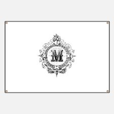Modern Vintage French monogram letter M Banner