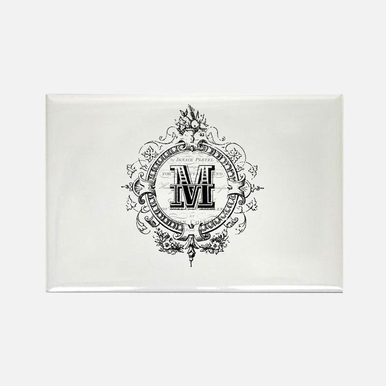 Modern Vintage French monogram letter M Magnets