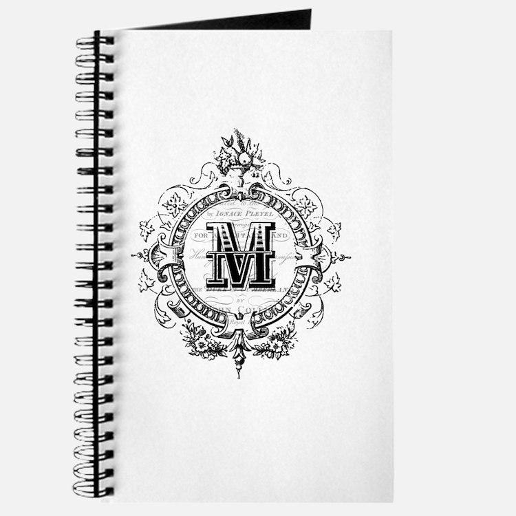 Modern Vintage French monogram letter M Journal