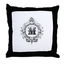 Modern Vintage French monogram letter M Throw Pill