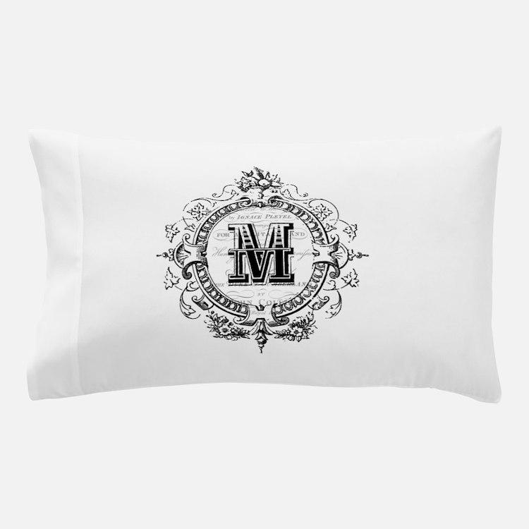 Modern Vintage French monogram letter M Pillow Cas