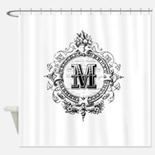 Modern Vintage French monogram letter M Shower Cur