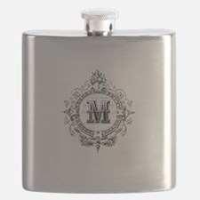 Modern Vintage French monogram letter M Flask