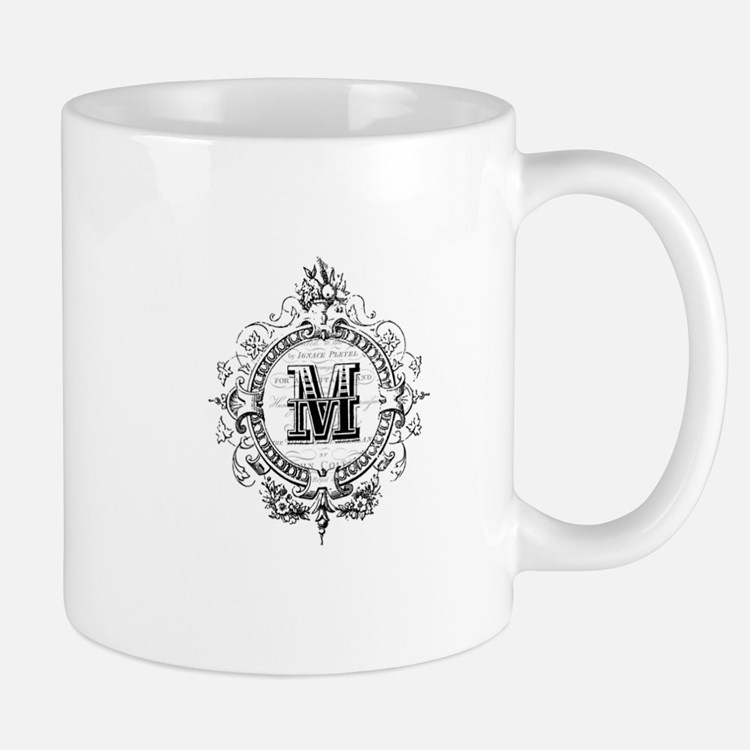 Modern Vintage French monogram letter M Mugs