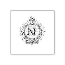 modern vintage monogram letter N Sticker