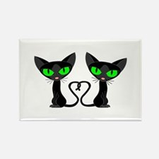 Cute Black Cats Tail Heart Magnets