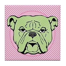 Halftone Bulldog Tile Coaster