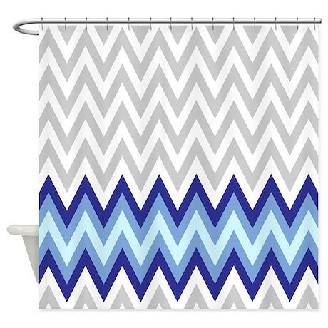 Modern Gray And Blue 2 Shower Curtain By FamilyFunShoppe