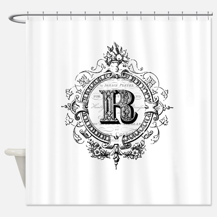 Monogrammed R Shower Curtains