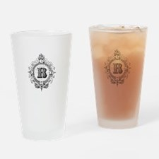 modern vintage monogram letter R Drinking Glass
