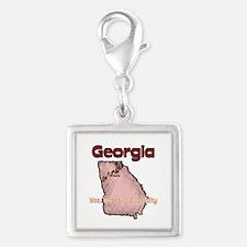 Georgia - Funny Motto Silver Square Charm