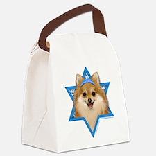 Hanukkah Star of David - Pom Canvas Lunch Bag