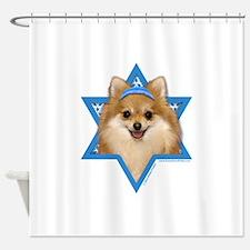 Hanukkah Star of David - Pom Shower Curtain