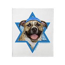 Hanukkah Star of David - Pitbull Throw Blanket