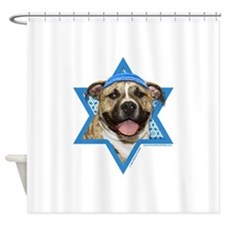 Hanukkah Star of David - Pitbull Shower Curtain