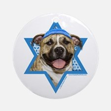 Hanukkah Star of David - Pitbull Ornament (Round)