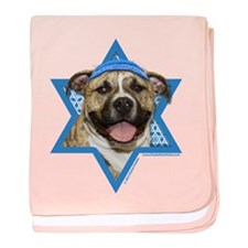 Hanukkah Star of David - Pitbull baby blanket