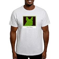 French Bulldog Rec (Green) Ash Grey T-Shirt