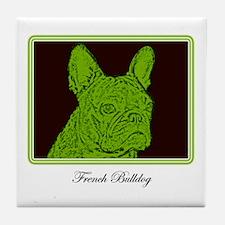 French Bulldog Rec (Green) Tile Coaster