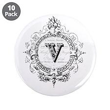 "modern vintage monogram letter V 3.5"" Button (10 p"