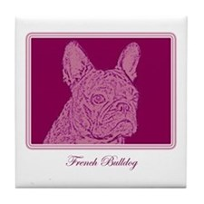 French Bulldog Rec (purple) Tile Coaster